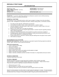 Job Description For Bank Teller Resume Free Resume Templates