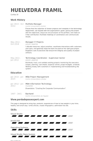portfolio resume sample
