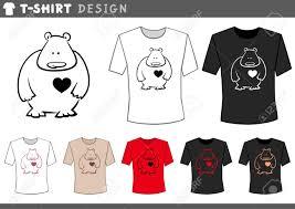 Bear T Shirt Design Illustration Of T Shirt Design Template With Cartoon Teddy Bear