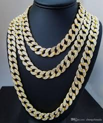 2018 iced out bling rhinestone crystal goldgen finish miami cuban link chain men s hip hop necklace jewelry 20 24 30 36 inch from chengzhisuda