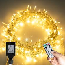 Brightown Christmas Led String Lights 43ft 100 Leds Clear Fairy Light String With Remote Timer 8 Modes Twinkle Waterproof For Outdoor Xmas Trees