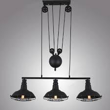 3 light industrial pulley cage light indoor adjule pendant lamp black