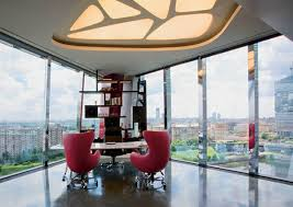 contemporary office interior design. Brilliant Design Contemporary Office Furniture And Interior Design In Minimalist Style  Large Window Metal Frames Unique Shelving Chairs Made Of Red Leather Throughout Office Interior Design P
