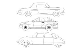 Car Design In Autocad 2d Three Cars Elevation Autocad 2d Dwg Free Download Cadbull