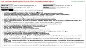 Marvelous Resume Power Plant Operator Sample Resume Job