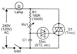basic diac type variable phase delay lamp dimmer circuit