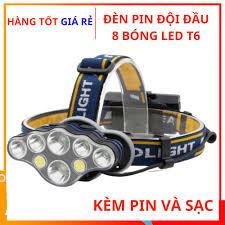 Đèn pin đội đầu 8 bóng LED T6 siêu sáng, 6 chế độ sáng, chống nước, Đèn led  đội đầu kèm pin sạc xoay 90 độ tiện dụng