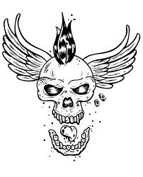 Un Cr Ne De Squelette Dot D Ailes Et D Une Cr Te Punk Parfait