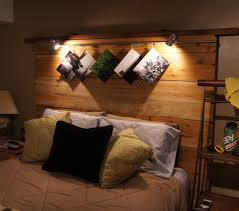 appealing wooden homemade headboards with unique wall light for bedroom  decoration ideas