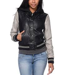 obey varsity lover black grey faux leather jacket