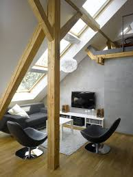 Breathtaking Sunroom Attic Loft Ideas With Modern Black Sofa Set On Wooden  Floors As Well As White Tv Stands In Small Space Interior Designs