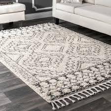 rug white nuloom off white soft and plush moroccan tribal geometric tassel area rug 7 rug white