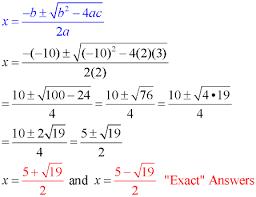 quadratic formula mathbitsnotebook a1