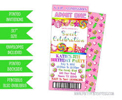 Party Ticket Invitations Interesting Candy Birthday Invitation Candy Ticket Invitations Pink Candy