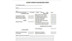 Speech Sample Mesmerizing Sample Speech Evaluation Forms 44 Free Documents In Word PDF
