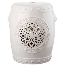 patio stool: flower drum cream garden patio stool