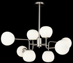 Casa Padrino Chandelier Silver White ø 96 X H 265 Cm Modern Chandelier With Round Frosted Glass Lampshades