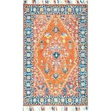 orange and blue area rug tropical floret tassel rust 8 ft x ft area rug mistana orange and blue area rug