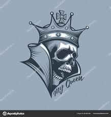 Koruna Lebku Nápisem Moje Královna Styl Tetování Stock Vektor