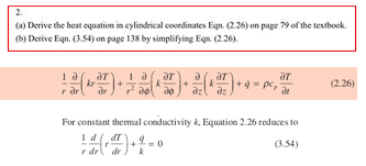 a derive the heat equation in cylindrical coordinates eqn 2 26