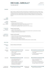 resume for teachers assistant teaching assistant resume samples and templates visualcv