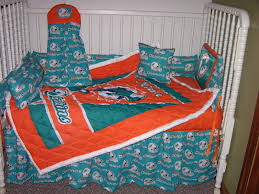 crib nursery bedding set made w miami dolphins fabric