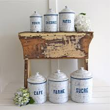 French Canisters Kitchen Vintage Enamel Canister Set