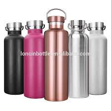 stainless insulated water bottle vacuum double wall thermos sport bottle 600ml insulated bottle 25oz with metal lid bamboo cap
