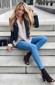 cute outfits cream blouse black leather jacket skinny jeans black booties share