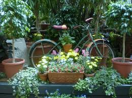 garden ornaments and accessories. Outdoor: Old Age Bicycle With Decorative Vase For Garden Ornaments And Accessories -