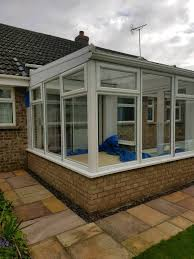 3m x 3m anglian upvc lean to conservatory with fench doors