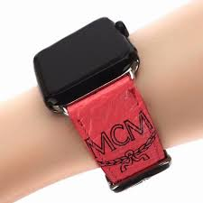 mcm leather strap watch band watermelon red