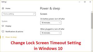 change screen lock timeout in windows 10