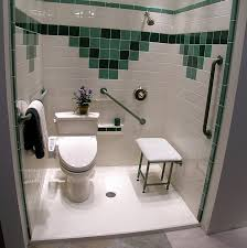 the danger of stepping into a bathtub is eliminated and a low threshold handicap accessible shower can be