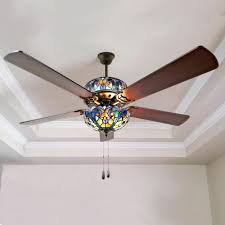Tiffany Ceiling Fan Light Shades Details About Blue Stained Glass Ceiling Fan Tiffany Style Lamp Light W Pull Chain Remote