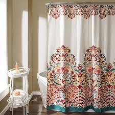 lush decor 16t000086 clara shower curtain 72 x 72 turquoise tangerine