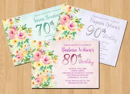 90 Birthday Party Invitations Flowers Party Invitation 90th Birthday