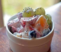 fruit salad with frozen yogurt. Simple Frozen Super Fruit Salad With Frozen Yogurt Poppyjpg For