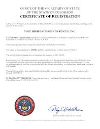 colorado charitable solicitation act certificate of registration