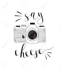 写真カメラ レタリング と言うチーズをベクトルは手描き下ろしイラストです