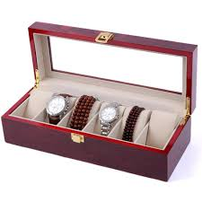 beautiful red glass lid watch holder box