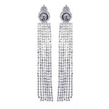 clip on earrings veda s silver chandelier earring with clear crystal strands