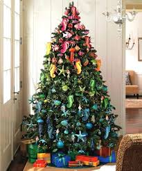 cool ombre Christmas tree with colorful beach-inspired ornaments