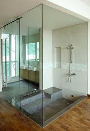 shower enclosure with glass door sliding