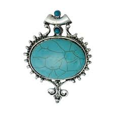1 bali style oval turquoise pendant extra large 69x52mm by tijc sp1411 from tijc on studio