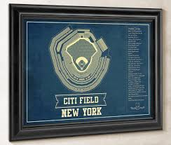 Detailed Citi Field Seating Chart New York Mets Citi Field Vintage Seating Chart Baseball Print