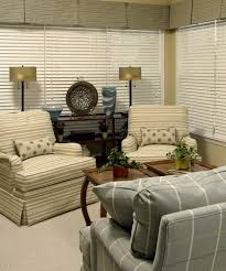 Florida Room Furniture Living Room Traditional with Blinds Plaid Striped  Stripes