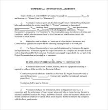 Sample Construction Contract Contract Template Construction Toptier Business