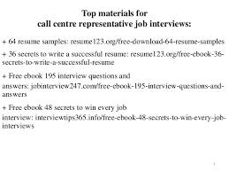 Call Centre Representative Resume Sample Pdf Ebook Free Download