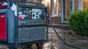 generator. Close Up Night Time Image Of Generator Poolside In Backyard House With Lights On O